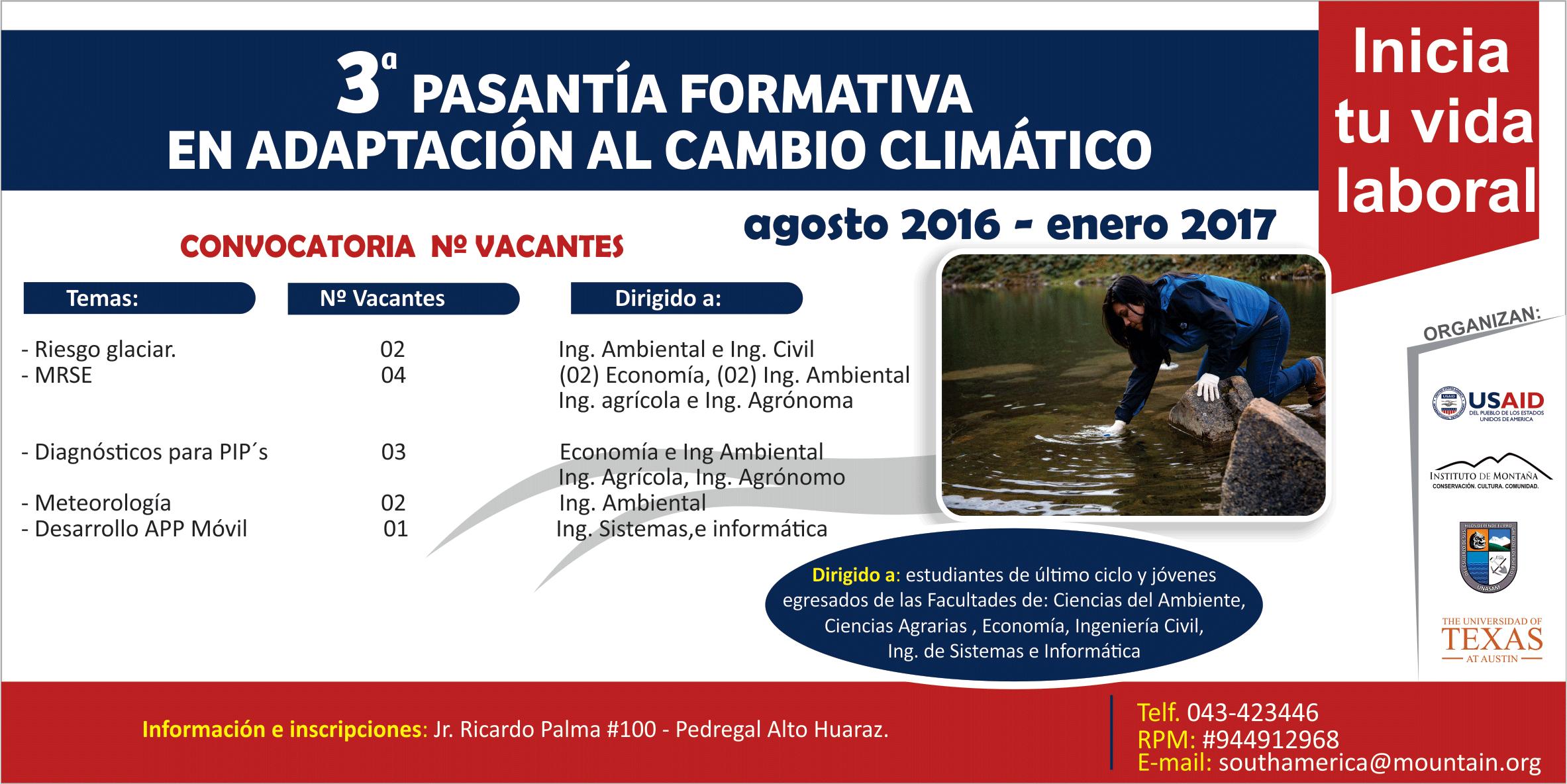 CONVOCATORIA A PASANTÍAS ACADÉMICAS UNIVERSITARIAS EN ADAPTACIÓN AL CAMBIO CLIMÁTICO