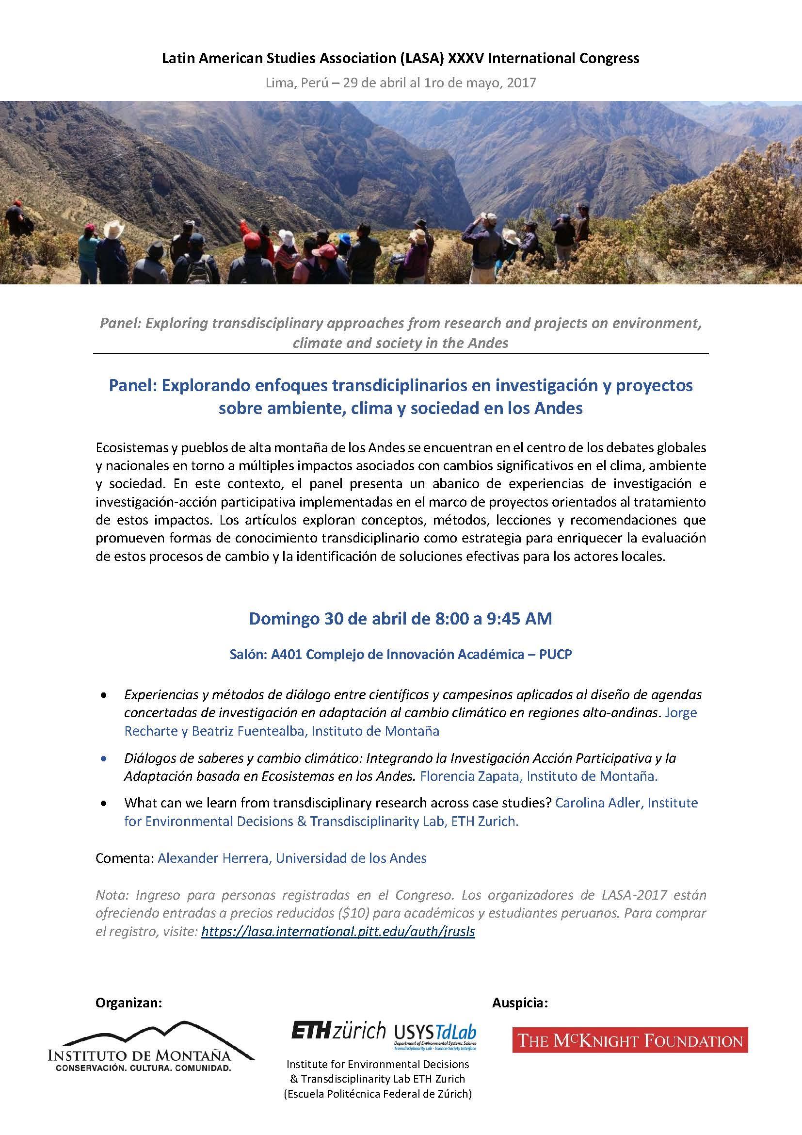 Explorando enfoques transdiciplinarios en investigación y proyectos sobre ambiente, clima y sociedad en los Andes