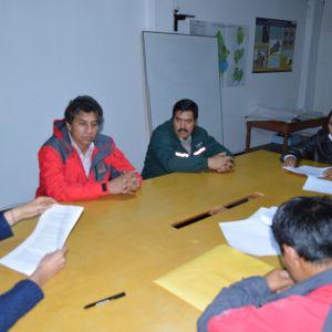 Autoridades de la Mancomunidad Río Yanamayo, Dirección Regional de Educación de Ancash, Instituto Superior tecnológico de San Nicolás, Agrirural y especialistas del instituto de Montaña en acuerdos finales para la firma del convenio