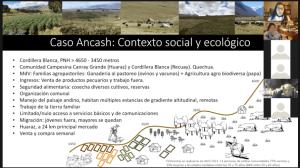 Diapositiva sobre el contexto social y ecológico de Ancash